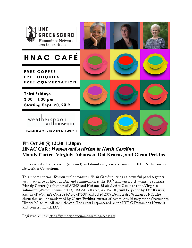 flyer for the HNAC cafe on October 30th 2020