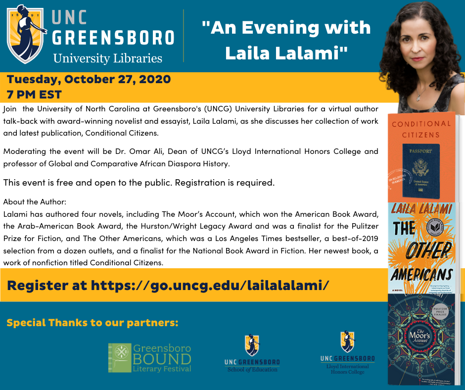 flyer for event with Dr. Laila Lalami