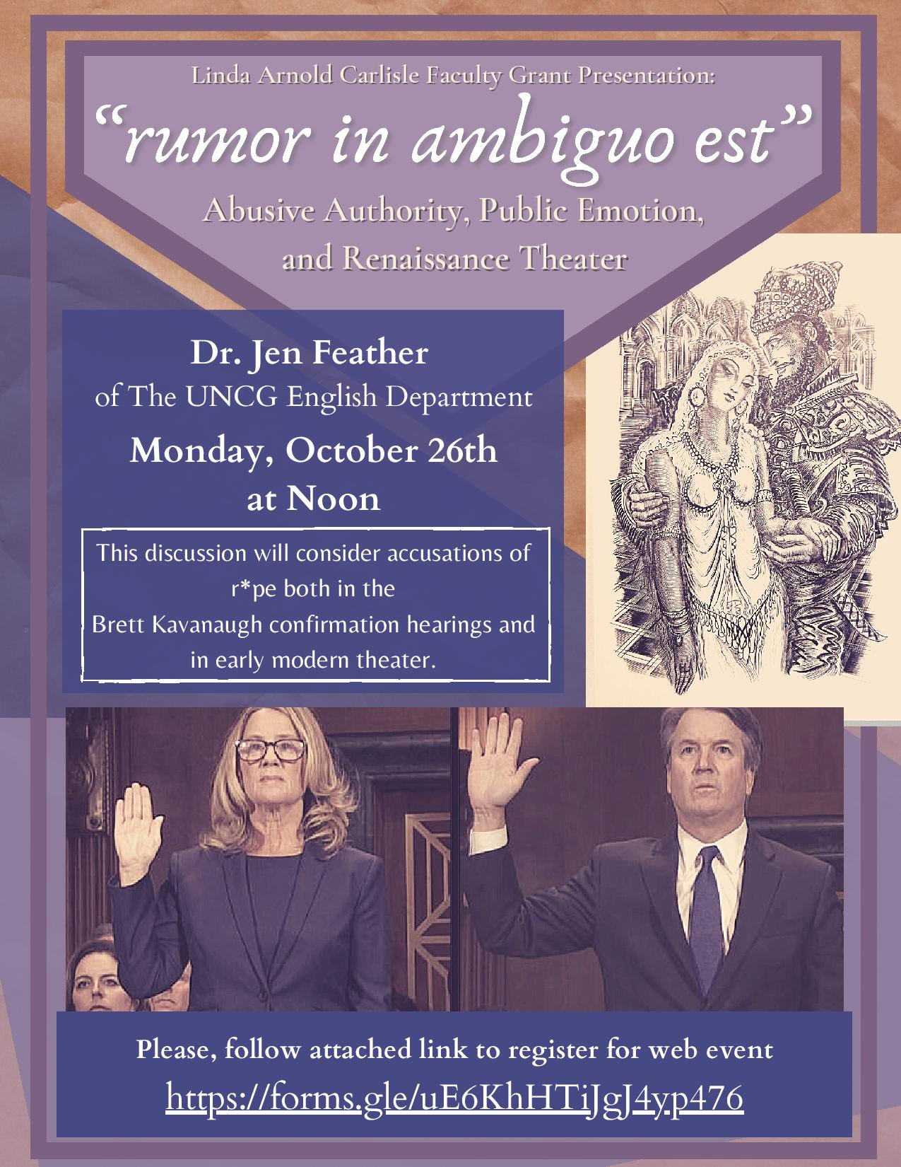 "flyer for ""rumor in ambiguo est"": Abusive Authority, Public Emotion, and Renaissance Theater, a presentation by Dr. Jennifer Feather."