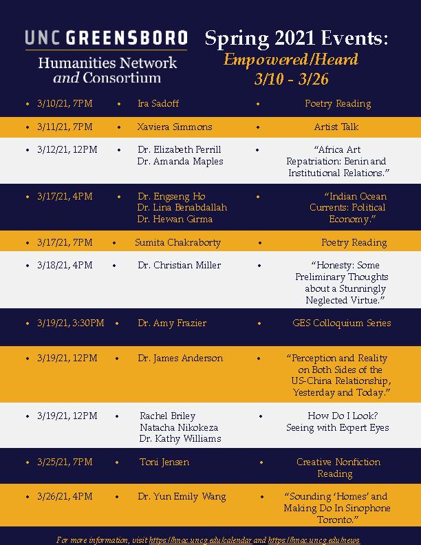 Uncg Spring 2022 Calendar.Calendar Humanities Network And Consortium
